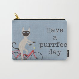 Siamese cat on bicycle Carry-All Pouch