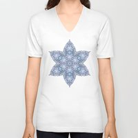 snowflake V-neck T-shirts featuring Snowflake by Awispa