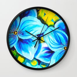 Blue Poppies 3 Wall Clock