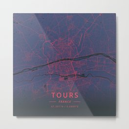 Tours, France - Neon Metal Print