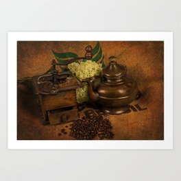 Vintage coffee grinder, pot an beans Art Print