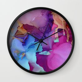 Alcohol Ink Flowers Wall Clock