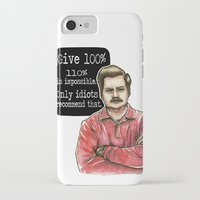 ron swanson iPhone & iPod Cases featuring Ron Swanson by Tiffany Willis