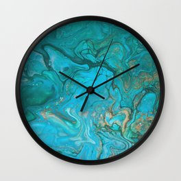 Fluid Nature - Malachite Flows - Acrylic Pour Art Wall Clock