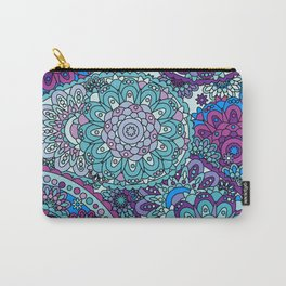 1960's Paisley Hippie Pattern in Blue, Purple, Green Carry-All Pouch
