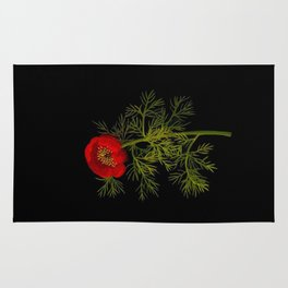 Paeonia Tenuifolia Mary Delany Vintage British Floral Flower Paper Collage Black Background Rug