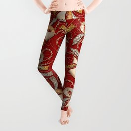 Decorative ornate luxury bow-tie. Claret red background. 1 Leggings