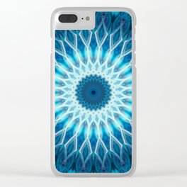 Light blue and white mandala Clear iPhone Case