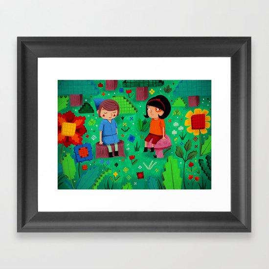Pixel Garden Framed Art Print