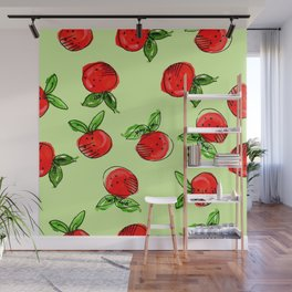 Watercolor tangerine green #homedecor #spring #fruit #watercolor Wall Mural