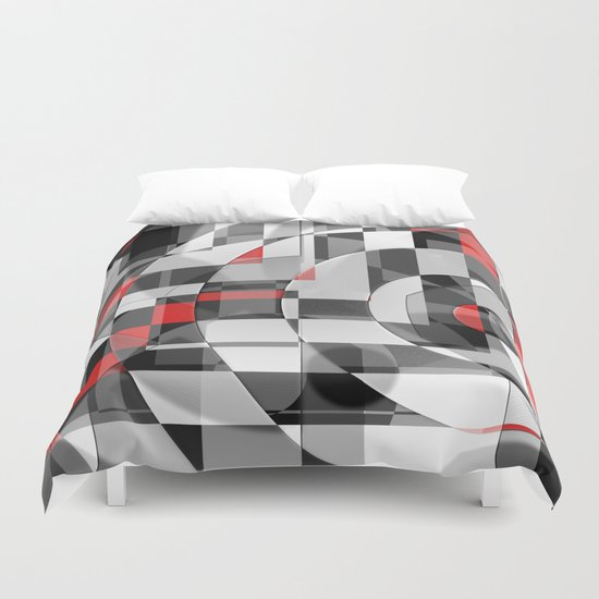 black and white meets red Version 1 Duvet Cover