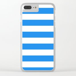Horizontal Stripes - White and Dodger Blue Clear iPhone Case