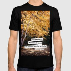 perks of being a wallflower - life doesn't stop for anybody LARGE Black Mens Fitted Tee