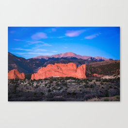 Pikes Peak - Sunrise Over Garden of the Gods in Colorado Springs Canvas Print