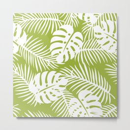 Olive Green Jungle Palm Leaves Pattern Metal Print