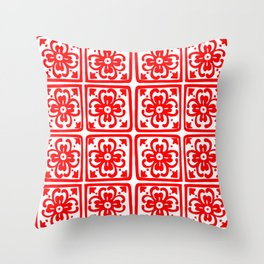Classic Spicy-Red Chile Tile Pattern Throw Pillow