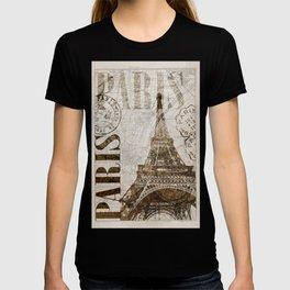 Vintage Paris eiffel tower illustration T-shirt