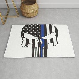 Punisher Skull American Flag Thin Blue Line Rug