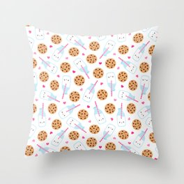 Happy Milk and Cookies Pattern Throw Pillow