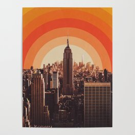 New York's Famous Sunset - Retro City Poster