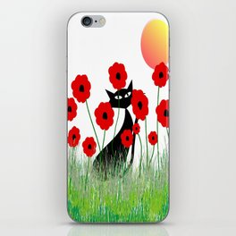 Whimsical Black Cat and Red Poppies iPhone Skin
