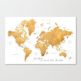 For God so loved the world, world map in gold Canvas Print