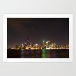 Toronto at Night from Polson Pier Art Print