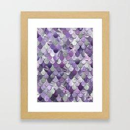 Mermaid Purple and Silver Framed Art Print