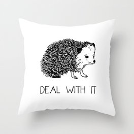Deal With It Hedgehog Throw Pillow