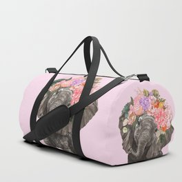 Baby Elephant with Flower Crown in Pink Duffle Bag