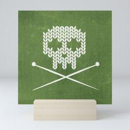 Knitted Skull - White on Olive Green Mini Art Print