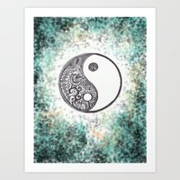 yin yang Art Prints featuring Yin & Yang by Hope