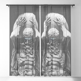 Hercules holding the whole world Sheer Curtain