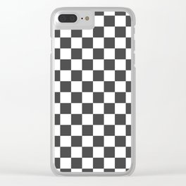 Gingham Dark Slate Grey Checked Pattern Clear iPhone Case