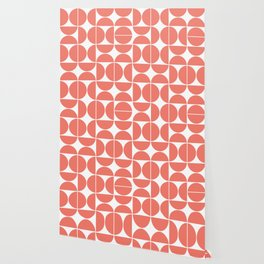 Mid Century Modern Geometric 04 Living Coral Wallpaper
