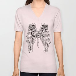 Wings + sword tattoo Unisex V-Neck