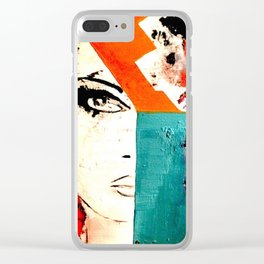 Painting - Model, Abstract, Red & Turquoise Clear iPhone Case