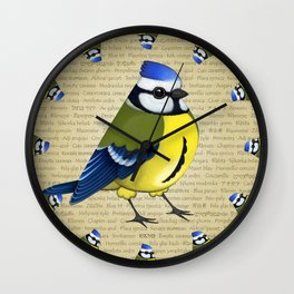 Pretty cyanistes Wall Clock