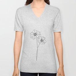 Botanical illustration line drawing - Anemones Unisex V-Neck