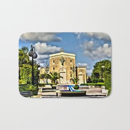 digital painting oil on canvas - Mosta Dome Cathedral St. Mary church The Parish Church of Assumptio Bath Mat