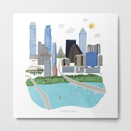 Austin Skyline Illustration Metal Print