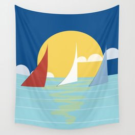 Sun, ocean and sails Wall Tapestry