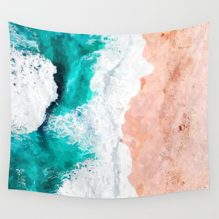 Beach Illustration Wall Tapestry