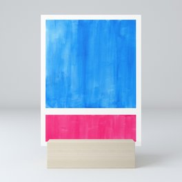 Baby Blue Pastel Pink Minimalist Mid Century Modern Rothko Color Field Geometric Square Shapes Mini Art Print