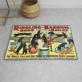 Ringling Bros and Barnum & Bailey Circus Black Leopards Vintage Poster Rug