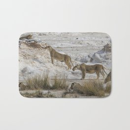 Alert Lions - Something's Coming to the Waterhole, No. 1 Bath Mat