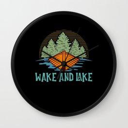 Wake And Lake Boat Spear Lure Fisherman Wall Clock