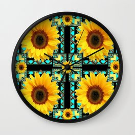 WESTERN STYLE  BLACK COLOR YELLOW SUNFLOWERS ART Wall Clock