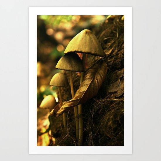 Magic mushroom family Art Print