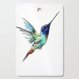 Flying Hummingbird flying bird, turquoise blue elegant bird minimalist design Cutting Board